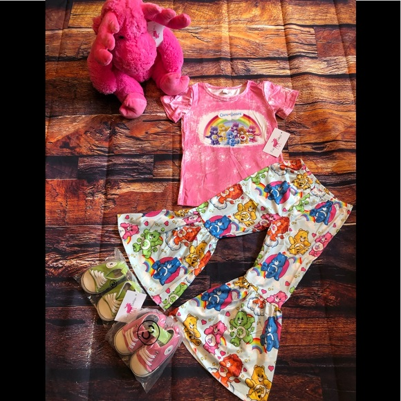 Girls Care Bears graphic Top & Bell Bottoms Pants
